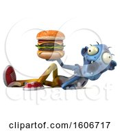 Clipart Of A 3d Blue Zombie Holding A Burger On A White Background Royalty Free Illustration