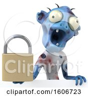 Clipart Of A 3d Blue Zombie Holding A Padlock On A White Background Royalty Free Illustration
