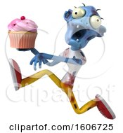Clipart Of A 3d Blue Zombie Holding A Cupcake On A White Background Royalty Free Illustration