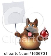 Clipart Of A 3d German Shepherd Dog Holding A Blood Drop On A White Background Royalty Free Illustration