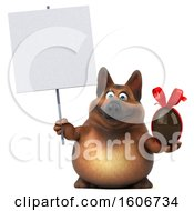 Clipart Of A 3d German Shepherd Dog Holding A Chocolate Egg On A White Background Royalty Free Illustration