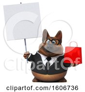 3d Business German Shepherd Dog Holding A Shopping Bag On A White Background