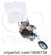 Clipart Of A 3d Business German Shepherd Dog Biker Riding A Chopper Motorcycle On A White Background Royalty Free Illustration