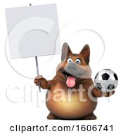 3d German Shepherd Dog Holding A Soccer Ball On A White Background