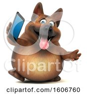 3d German Shepherd Dog Holding A Cell Phone On A White Background