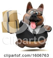 Clipart Of A 3d Business German Shepherd Dog Holding Boxes On A White Background Royalty Free Illustration by Julos