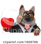 Clipart Of A 3d Business German Shepherd Dog Holding A Heart On A White Background Royalty Free Illustration by Julos