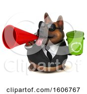 Clipart Of A 3d Business German Shepherd Dog Holding A Recycle Bin On A White Background Royalty Free Illustration by Julos