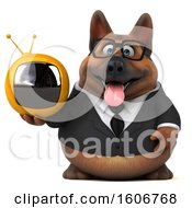 Clipart Of A 3d Business German Shepherd Dog Holding A Tv On A White Background Royalty Free Illustration by Julos