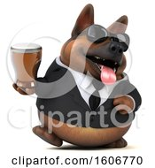 Clipart Of A 3d Business German Shepherd Dog Holding A Beer On A White Background Royalty Free Illustration by Julos