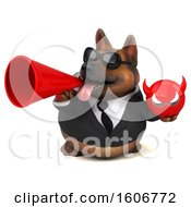 Clipart Of A 3d Business German Shepherd Dog Holding A Devil On A White Background Royalty Free Illustration by Julos