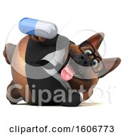 Clipart Of A 3d Business German Shepherd Dog Holding A Pill On A White Background Royalty Free Illustration by Julos