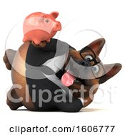 Clipart Of A 3d Business German Shepherd Dog Holding A Piggy Bank On A White Background Royalty Free Illustration by Julos