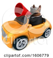Clipart Of A 3d Business German Shepherd Dog Driving A Convertible Car On A White Background Royalty Free Illustration by Julos
