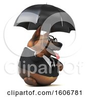 Clipart Of A 3d Business German Shepherd Dog Holding An Umbrella On A White Background Royalty Free Illustration by Julos