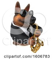 Clipart Of A 3d Business German Shepherd Dog Playing A Saxophone On A White Background Royalty Free Illustration by Julos