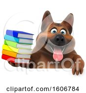 Clipart Of A 3d German Shepherd Dog Holding Books On A White Background Royalty Free Illustration by Julos