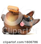 Clipart Of A 3d German Shepherd Dog Holding A Hot Dog On A White Background Royalty Free Illustration by Julos
