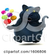 3d Black Kitty Cat Holding Messages On A White Background