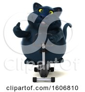 Clipart Of A 3d Black Kitty Cat Holding A Spin Bike On A White Background Royalty Free Illustration