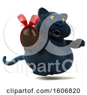 Clipart Of A 3d Black Kitty Cat Holding A Chocolate Egg On A White Background Royalty Free Illustration