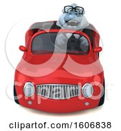 3d White Business Monkey Yeti Driving A Convertible On A White Background