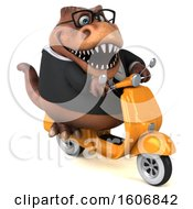 Clipart Of A 3d Brown Business T Rex Dinosaur Riding A Scooter On A White Background Royalty Free Illustration