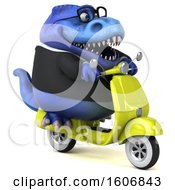Clipart Of A 3d Blue Business T Rex Dinosaur Riding A Scooter On A White Background Royalty Free Illustration