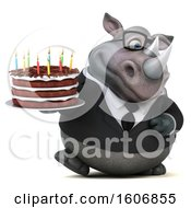 Poster, Art Print Of 3d Business Rhinoceros Holding A Birthday Cake On A White Background