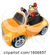Clipart Of A 3d Brown Business Chicken Driving A Convertible On A White Background Royalty Free Illustration