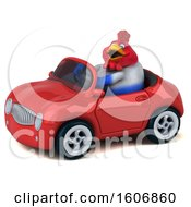 Clipart Of A 3d Chubby French Chicken Driving A Convertible On A White Background Royalty Free Illustration by Julos