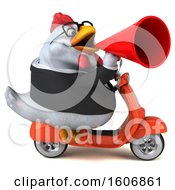 Clipart Of A 3d White Business Chicken Riding A Scooter On A White Background Royalty Free Illustration