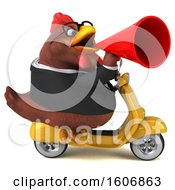 Clipart Of A 3d Chubby Brown Business Chicken Riding A Scooter On A White Background Royalty Free Illustration