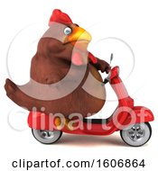Poster, Art Print Of 3d Chubby Brown Chicken Riding A Scooter On A White Background