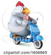 Clipart Of A 3d Chubby White Chicken Riding A Scooter On A White Background Royalty Free Illustration