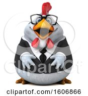 Clipart Of A 3d White Business Chicken On A White Background Royalty Free Illustration by Julos