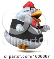Poster, Art Print Of 3d White Business Chicken Running On A White Background
