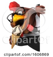 Clipart Of A 3d Brown Business Chicken Holding A Waffle Cone On A White Background Royalty Free Illustration