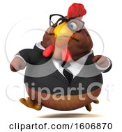 Poster, Art Print Of 3d Brown Business Chicken Running On A White Background