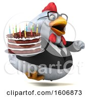 Poster, Art Print Of 3d White Business Chicken Holding A Birthday Cake On A White Background