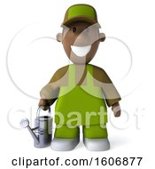 Clipart Of A 3d Black Male Gardener Holding A Watering Can On A White Background Royalty Free Illustration
