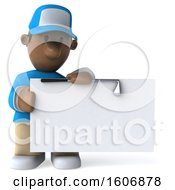 3d Black Male Golfer Holding A Sign On A White Background
