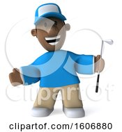 Clipart Of A 3d Black Male Golfer On A White Background Royalty Free Illustration by Julos