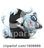 Clipart Of A 3d White Business Kitty Cat Relaxing On A White Background Royalty Free Illustration
