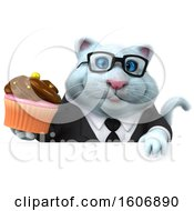 Clipart Of A 3d White Business Kitty Cat Holding A Cupcake On A White Background Royalty Free Illustration
