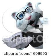 Poster, Art Print Of 3d White Business Kitty Cat Holding A Plane On A White Background