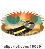 Winding Road Through Trees At Sunset Clipart Illustration
