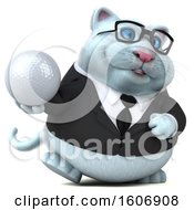 Clipart Of A 3d White Business Kitty Cat Holding A Water Drop On A White Background Royalty Free Illustration