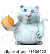 Clipart Of A 3d White Kitty Cat Holding An Orange On A White Background Royalty Free Illustration