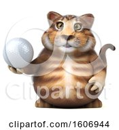 3d Tabby Kitty Cat Holding A Golf Ball On A White Background